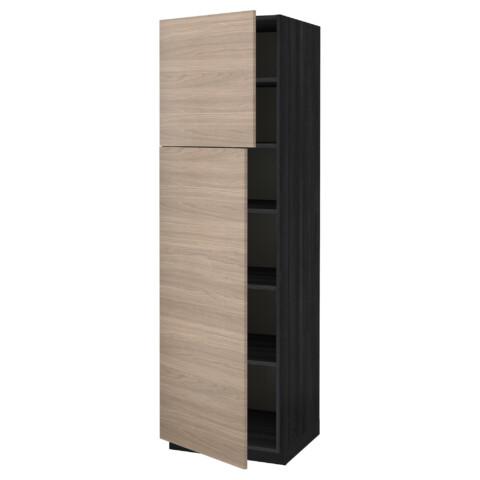 Высокий шкаф с полками, 2 дверцы МЕТОД черный артикуль № 991.639.60 в наличии. Онлайн сайт IKEA РБ. Недорогая доставка и соборка.