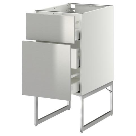Напольный шкаф 2 фронтальные панели, 3 средняя ящик МЕТОД / МАКСИМЕРА белый артикуль № 191.065.58 в наличии. Online магазин IKEA РБ. Недорогая доставка и соборка.