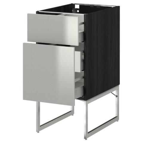 Напольный шкаф 2 фронтальные панели, 3 средняя ящик МЕТОД / МАКСИМЕРА черный артикуль № 791.065.22 в наличии. Интернет каталог IKEA РБ. Недорогая доставка и соборка.