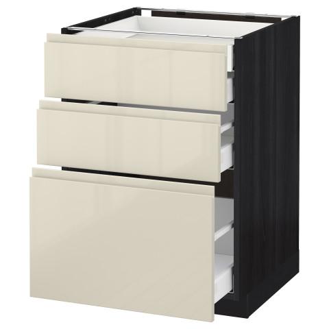 Напольный шкаф 3 фронтальные панели/2нзк/1срд/1 встроенный ящик МЕТОД / МАКСИМЕРА черный артикуль № 091.680.09 в наличии. Online сайт IKEA Минск. Недорогая доставка и монтаж.