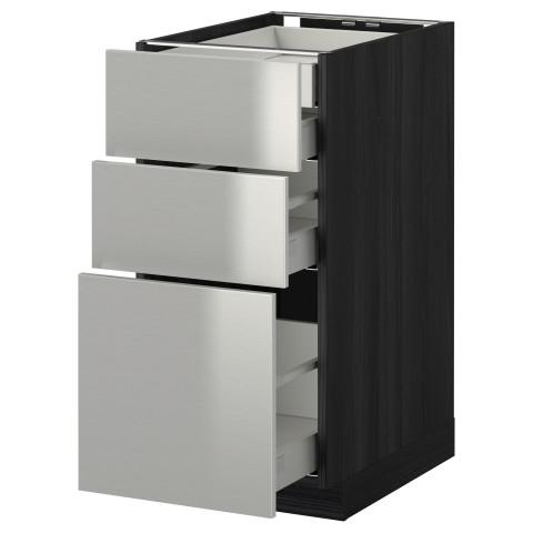 Напольный шкаф 3 фронтальные панели/2нзк/1срд/1 встроенный ящик МЕТОД / МАКСИМЕРА черный артикуль № 391.040.06 в наличии. Интернет каталог IKEA Минск. Недорогая доставка и установка.