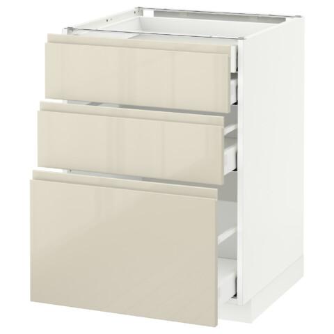Напольный шкаф 3 фронтальные панели/2нзк/1срд/1 встроенный ящик МЕТОД / МАКСИМЕРА белый артикуль № 691.680.11 в наличии. Online сайт IKEA Минск. Недорогая доставка и установка.