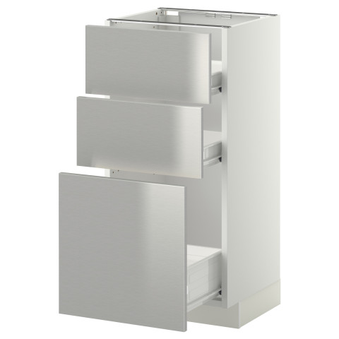 Напольный шкаф 3фрнт панель/2низк/1ср ящик МЕТОД / ФОРВАРА белый артикуль № 599.168.77 в наличии. Online сайт IKEA РБ. Недорогая доставка и соборка.