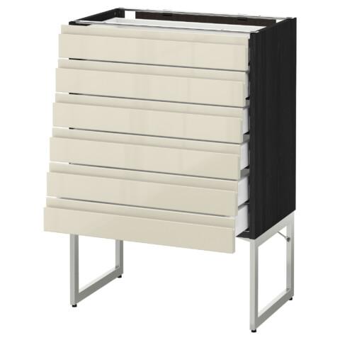 Напольный шкаф 6 фронтальных панелей, 6 нижних ящиков МЕТОД / МАКСИМЕРА черный артикуль № 791.681.24 в наличии. Онлайн сайт IKEA Минск. Быстрая доставка и монтаж.