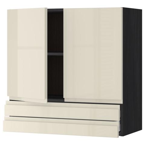 Навесной шкаф, 2 дверцы, 2 ящика МЕТОД / МАКСИМЕРА черный артикуль № 191.681.55 в наличии. Online сайт IKEA Минск. Быстрая доставка и установка.