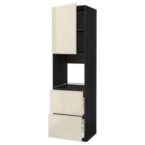 Высокий шкаф для духовки + дверца, 2 форнтальных, 2 высоких ящик МЕТОД / МАКСИМЕРА черный артикуль № 791.683.22 в наличии. Online магазин IKEA Минск. Быстрая доставка и соборка.