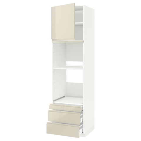 Высокий шкаф для духовки комбинированный, духовка + дверца, 3 ящика МЕТОД / МАКСИМЕРА белый артикуль № 191.683.44 в наличии. Online магазин IKEA РБ. Быстрая доставка и соборка.