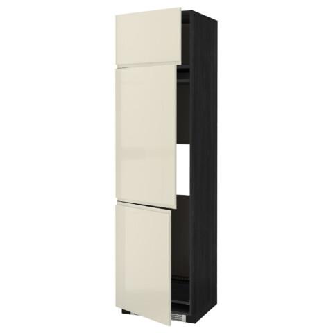 Высокий шкаф для холодильника или морозильника, с 3 дверями МЕТОД черный артикуль № 991.435.71 в наличии. Online магазин ИКЕА Минск. Быстрая доставка и монтаж.