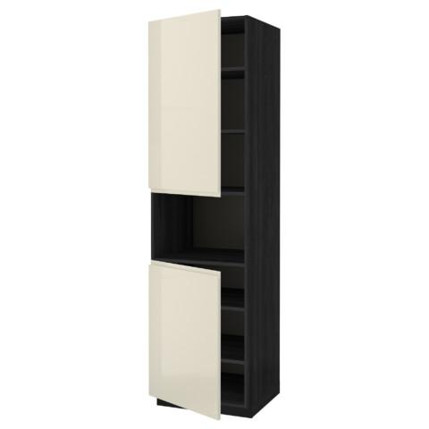 Высокий шкаф для/СВЧ, 2 дверцы, полки МЕТОД черный артикуль № 491.435.83 в наличии. Онлайн магазин IKEA Беларусь. Быстрая доставка и установка.