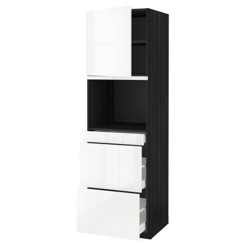 Высокий шкаф для СВЧ/дверца, 3 ящика МЕТОД / МАКСИМЕРА черный артикуль № 091.703.47 в наличии. Онлайн магазин IKEA РБ. Недорогая доставка и монтаж.