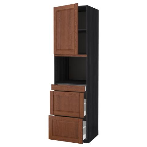 Высокий шкаф для СВЧ/дверца, 3 ящика МЕТОД / МАКСИМЕРА черный артикуль № 391.704.02 в наличии. Online сайт IKEA РБ. Недорогая доставка и установка.