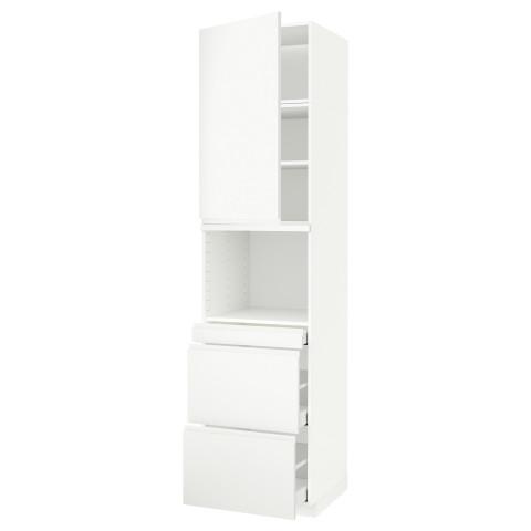 Высокий шкаф для СВЧ/дверца, 3 ящика МЕТОД / МАКСИМЕРА белый артикуль № 691.705.37 в наличии. Онлайн каталог ИКЕА РБ. Быстрая доставка и установка.