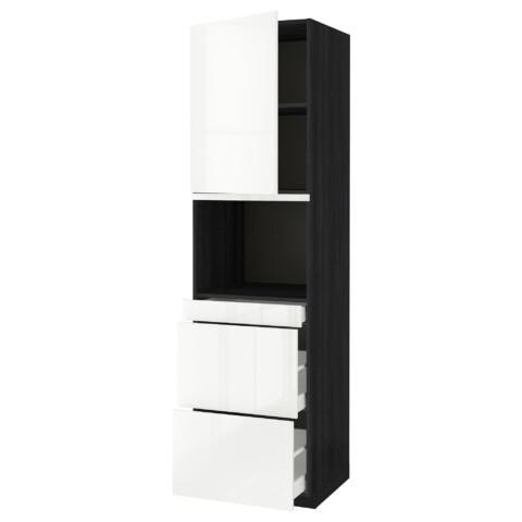 Высокий шкаф для СВЧ/дверца, 3 ящика МЕТОД / МАКСИМЕРА черный артикуль № 991.704.18 в наличии. Онлайн магазин IKEA Минск. Недорогая доставка и монтаж.
