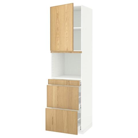 Высокий шкаф для СВЧ/дверца, 3 ящика МЕТОД / МАКСИМЕРА белый артикуль № 991.704.37 в наличии. Онлайн магазин IKEA Республика Беларусь. Быстрая доставка и соборка.
