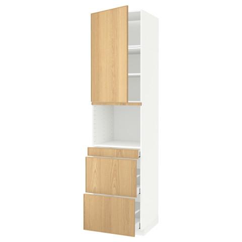 Высокий шкаф для СВЧ/дверца, 3 ящика МЕТОД / МАКСИМЕРА белый артикуль № 991.705.07 в наличии. Онлайн магазин IKEA РБ. Недорогая доставка и монтаж.