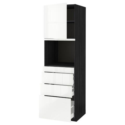 Высокий шкаф для СВЧ/дверца/4ящика МЕТОД / МАКСИМЕРА черный артикуль № 891.705.60 в наличии. Онлайн магазин IKEA Минск. Недорогая доставка и соборка.