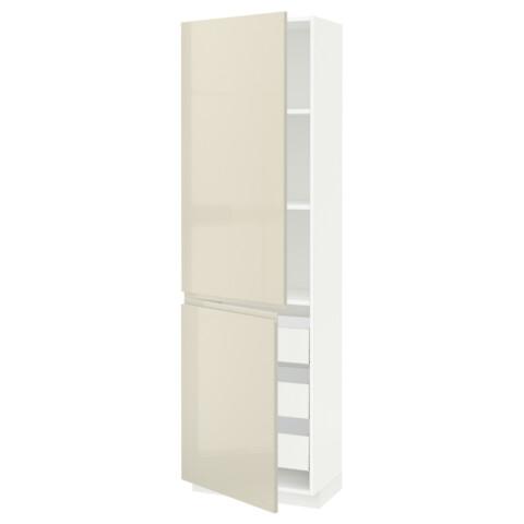 Высокий шкаф + полки, 3 ящика, 2 дверцы МЕТОД / МАКСИМЕРА белый артикуль № 391.683.19 в наличии. Онлайн магазин IKEA РБ. Недорогая доставка и установка.