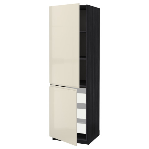 Высокий шкаф + полки, 3 ящика, 2 дверцы МЕТОД / МАКСИМЕРА черный артикуль № 891.683.07 в наличии. Online сайт IKEA Минск. Недорогая доставка и установка.