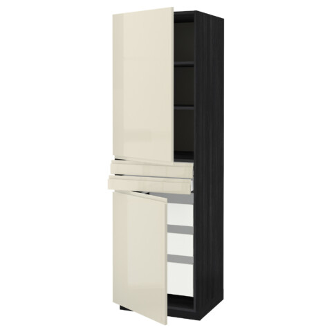 Высокий шкаф + полки, 5 ящиков, 2 дверцы, 2 фронтальных МЕТОД / МАКСИМЕРА черный артикуль № 491.683.14 в наличии. Онлайн магазин IKEA Минск. Быстрая доставка и соборка.