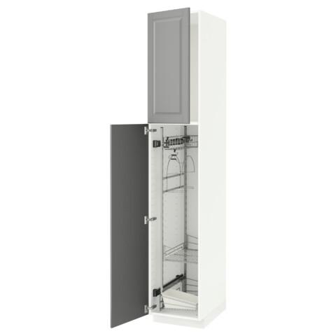 Высокий шкаф с отделением для аксессуаров, для уборки МЕТОД серый артикуль № 091.624.13 в наличии. Онлайн каталог ИКЕА РБ. Быстрая доставка и установка.