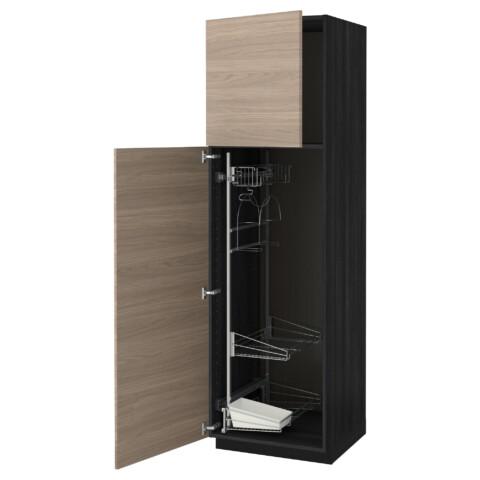 Высокий шкаф с отделением для аксессуаров, для уборки МЕТОД черный артикуль № 091.626.20 в наличии. Интернет каталог ИКЕА РБ. Быстрая доставка и установка.