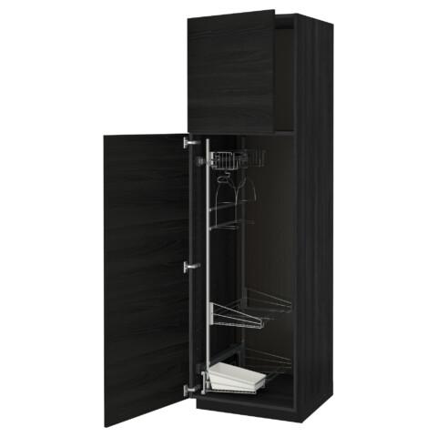 Высокий шкаф с отделением для аксессуаров, для уборки МЕТОД черный артикуль № 091.626.44 в наличии. Онлайн сайт ИКЕА Минск. Быстрая доставка и установка.
