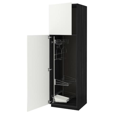 Высокий шкаф с отделением для аксессуаров, для уборки МЕТОД черный артикуль № 191.626.29 в наличии. Онлайн магазин ИКЕА РБ. Быстрая доставка и соборка.