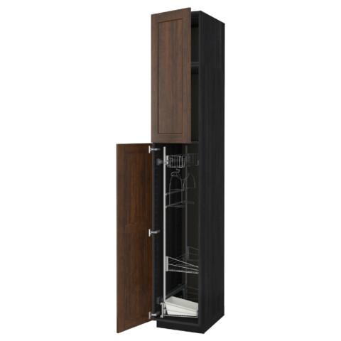 Высокий шкаф с отделением для аксессуаров, для уборки МЕТОД черный артикуль № 191.642.18 в наличии. Интернет каталог IKEA Беларусь. Быстрая доставка и установка.