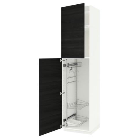 Высокий шкаф с отделением для аксессуаров, для уборки МЕТОД черный артикуль № 191.643.36 в наличии. Online каталог IKEA Минск. Недорогая доставка и монтаж.