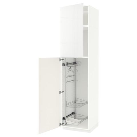 Высокий шкаф с отделением для аксессуаров, для уборки МЕТОД белый артикуль № 291.643.31 в наличии. Онлайн магазин IKEA Республика Беларусь. Недорогая доставка и установка.