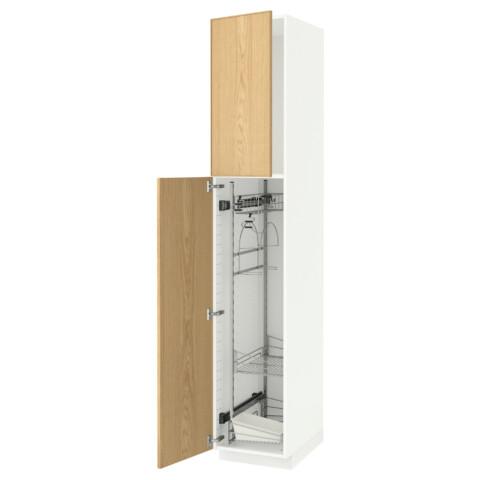 Высокий шкаф с отделением для аксессуаров, для уборки МЕТОД белый артикуль № 391.623.79 в наличии. Онлайн сайт ИКЕА РБ. Недорогая доставка и установка.