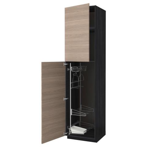 Высокий шкаф с отделением для аксессуаров, для уборки МЕТОД черный артикуль № 391.642.79 в наличии. Интернет сайт IKEA Беларусь. Быстрая доставка и монтаж.