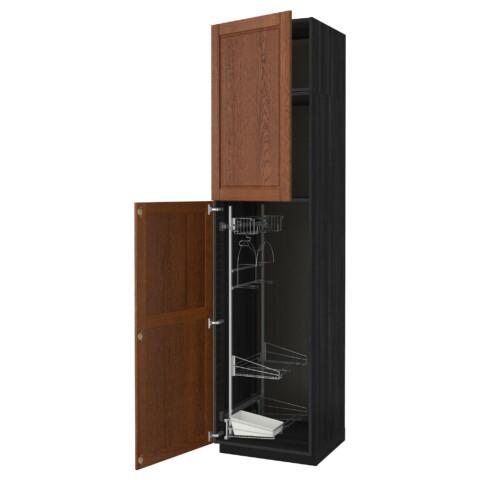 Высокий шкаф с отделением для аксессуаров, для уборки МЕТОД черный артикуль № 391.642.84 в наличии. Онлайн сайт IKEA Минск. Быстрая доставка и соборка.