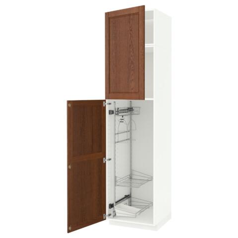 Высокий шкаф с отделением для аксессуаров, для уборки МЕТОД белый артикуль № 391.643.16 в наличии. Online каталог IKEA Минск. Быстрая доставка и установка.