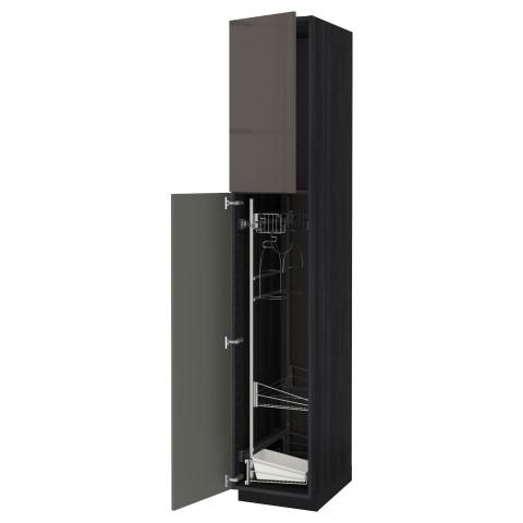 Высокий шкаф с отделением для аксессуаров, для уборки МЕТОД черный артикуль № 491.623.93 в наличии. Онлайн каталог IKEA Беларусь. Недорогая доставка и соборка.