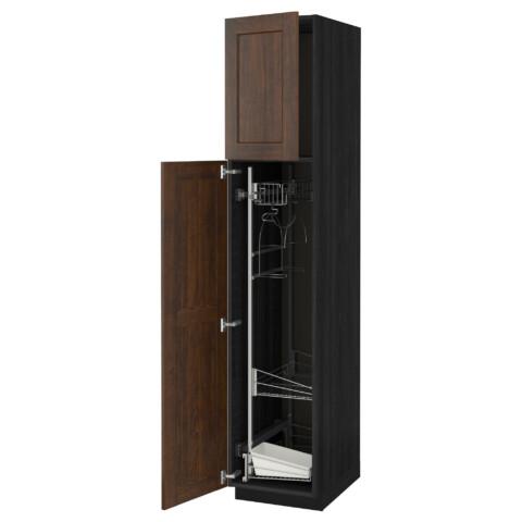 Высокий шкаф с отделением для аксессуаров, для уборки МЕТОД черный артикуль № 491.625.19 в наличии. Онлайн сайт ИКЕА Минск. Недорогая доставка и монтаж.