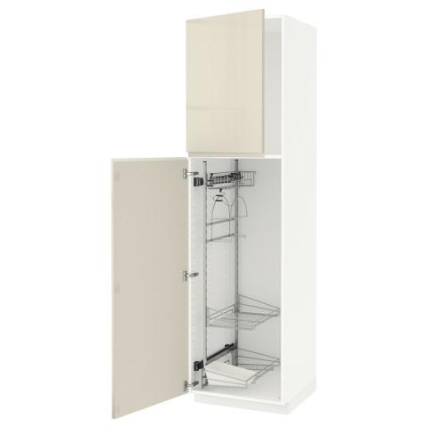 Высокий шкаф с отделением для аксессуаров, для уборки МЕТОД белый артикуль № 491.669.42 в наличии. Online сайт IKEA РБ. Быстрая доставка и монтаж.