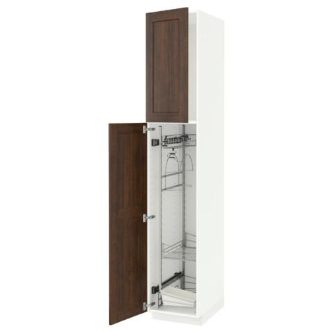 Высокий шкаф с отделением для аксессуаров, для уборки МЕТОД белый артикуль № 591.624.01 в наличии. Интернет сайт IKEA РБ. Недорогая доставка и монтаж.