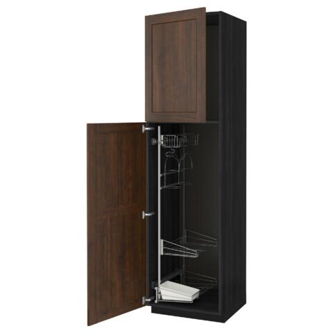 Высокий шкаф с отделением для аксессуаров, для уборки МЕТОД черный артикуль № 591.643.44 в наличии. Онлайн магазин IKEA РБ. Недорогая доставка и установка.