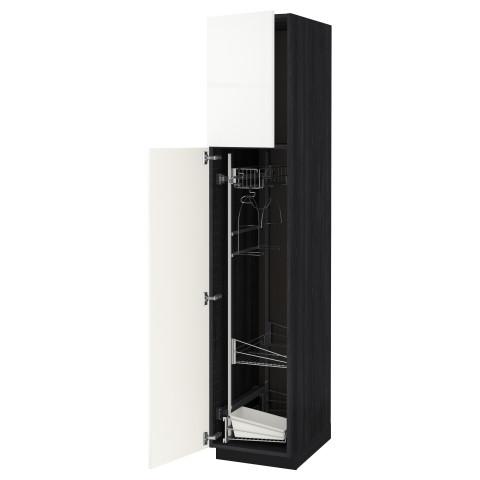 Высокий шкаф с отделением для аксессуаров, для уборки МЕТОД черный артикуль № 691.625.37 в наличии. Онлайн сайт IKEA Минск. Недорогая доставка и установка.