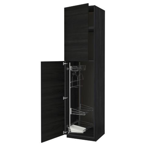 Высокий шкаф с отделением для аксессуаров, для уборки МЕТОД черный артикуль № 691.643.05 в наличии. Онлайн сайт ИКЕА Республика Беларусь. Быстрая доставка и монтаж.