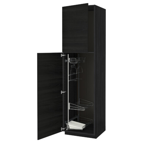 Высокий шкаф с отделением для аксессуаров, для уборки МЕТОД черный артикуль № 691.643.67 в наличии. Интернет каталог IKEA Беларусь. Быстрая доставка и соборка.