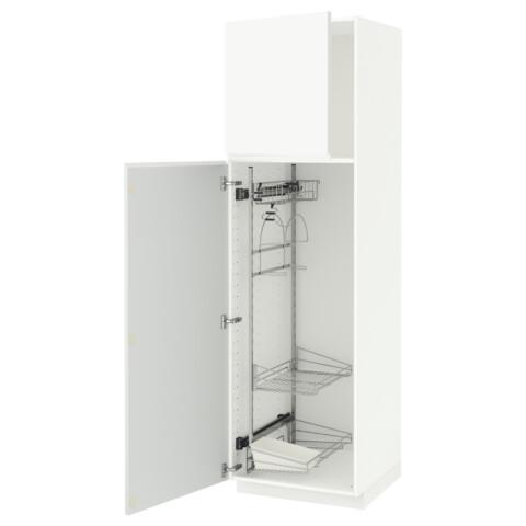 Высокий шкаф с отделением для аксессуаров, для уборки МЕТОД белый артикуль № 691.667.38 в наличии. Интернет магазин IKEA Республика Беларусь. Быстрая доставка и установка.