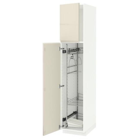 Высокий шкаф с отделением для аксессуаров, для уборки МЕТОД белый артикуль № 691.669.36 в наличии. Онлайн сайт ИКЕА Минск. Быстрая доставка и установка.