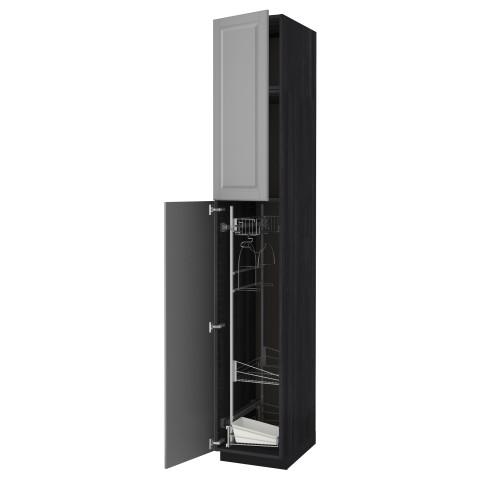 Высокий шкаф с отделением для аксессуаров, для уборки МЕТОД черный артикуль № 791.642.15 в наличии. Online каталог IKEA Минск. Недорогая доставка и установка.