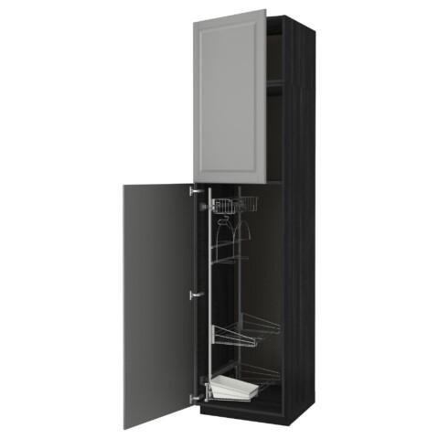 Высокий шкаф с отделением для аксессуаров, для уборки МЕТОД черный артикуль № 791.642.77 в наличии. Интернет магазин IKEA Беларусь. Недорогая доставка и соборка.
