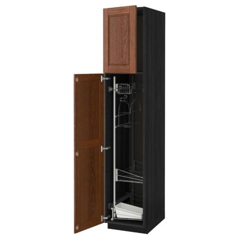 Высокий шкаф с отделением для аксессуаров, для уборки МЕТОД черный артикуль № 891.625.22 в наличии. Онлайн каталог IKEA РБ. Недорогая доставка и монтаж.