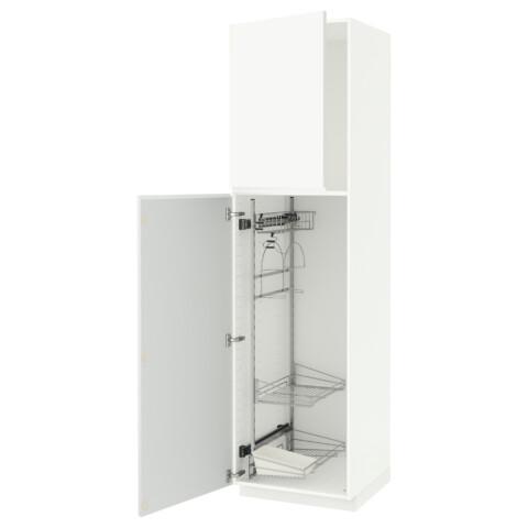 Высокий шкаф с отделением для аксессуаров, для уборки МЕТОД белый артикуль № 891.667.42 в наличии. Интернет магазин ИКЕА Беларусь. Быстрая доставка и установка.