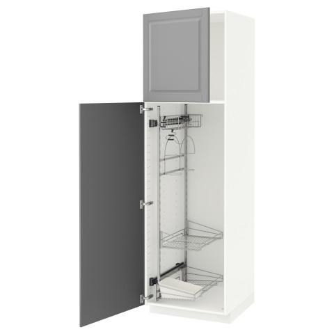 Высокий шкаф с отделением для аксессуаров, для уборки МЕТОД серый артикуль № 991.626.49 в наличии. Онлайн магазин ИКЕА РБ. Недорогая доставка и соборка.