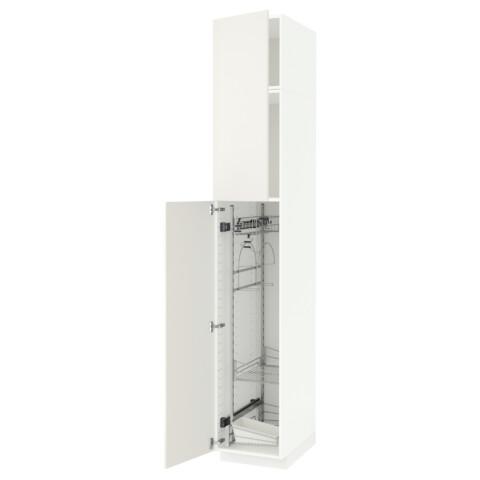 Высокий шкаф с отделением для аксессуаров, для уборки МЕТОД белый артикуль № 991.642.76 в наличии. Интернет сайт IKEA РБ. Недорогая доставка и монтаж.